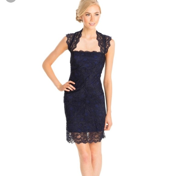 3311131f1bb3 Nicole Miller Dresses | Eva Lace Navy Blue Dress | Poshmark
